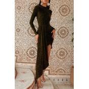 Lovely Casual Asymmetrical Gold Floor Length Prom Dress
