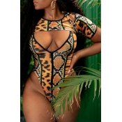 Lovely Print Multicolor One-piece Swimsuit(With T-