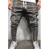 Men Lovely Casual Plaid Ptinted Yellow Pants