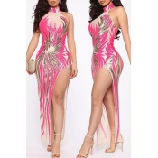 Lovely Party Side Slit Printed Pink Ankle Length E