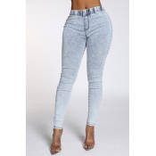 Lovely Casual High Waist Blue Jeans