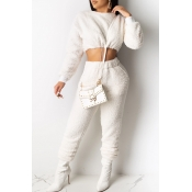 Lovely Leisure O Neck Crop Top White Two-piece Pan