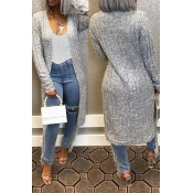 Lovely Casual Long Sleeve Silver Cardigan