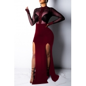 Lovely Sexy See-through Patchwork Wine Red Trailin