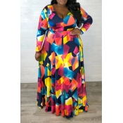 Lovely Casual Geometric Printed Multicolor Plus Si