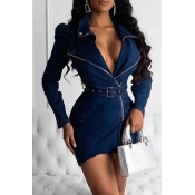 Lovely Casual V Neck Asymmetrical Blue Mini Dress