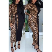 Lovely Casual Leopard Patchwork Ankle Length Dress