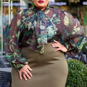 Lovely Casual Camo Print Army Green Plus Size Blou