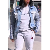 Lovely Casual Buttons Design Baby Blue Denim Coat