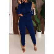 Lovely Party Tassel Design Blue Two-piece Pants Se