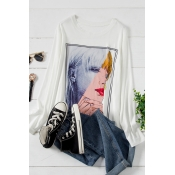Lovely Casual O Neck Print White Plus Size T-shirt
