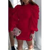 Lovely Sweet Ruffle Design Red Mini Dress