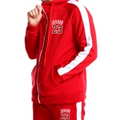 Lovely Casual Hooded Collar Zipper Red Two-piece P