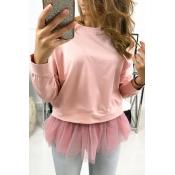 Lovely Sweet Patchwork Pink Sweatshirt Hoodie