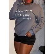 Lovely Casual Letter Printed Grey Sweatshirt Hoodie