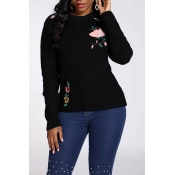 Lovely Chic Embroidery Design Black Sweater