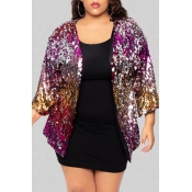 Lovely Trendy Sequin Multicolor Plus Size Coat