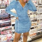 Lovely Casual V Neck Skinny Blue Mini Dress