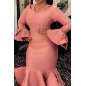 Lovely Sweet Flounce Patchwork Pink Mid Calf Eveni