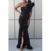 Lovely Party One Shoulder Black Prom Dress