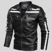 Lovely Casual Patchwork Black Leather