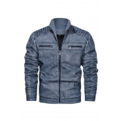 Lovely Casual Zipper Design Blue Leather