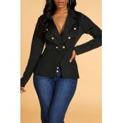 Lovely Trendy Basic Buttons Design Black Blazer