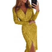 Lovely Trendy Sequin Cross-over Design Yellow  Kne
