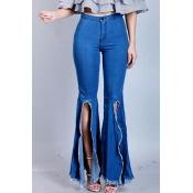 Lovely Chic High Slit Deep Blue Jeans