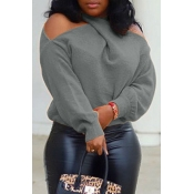 Lovely Casual Cross-over Design Grey Sweater