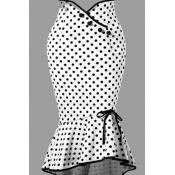 Lovely Casual Dot White Plus Size Skirt
