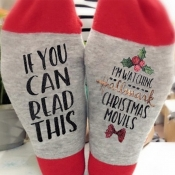 Lovely Christmas Day Letter Red Socks