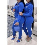 Lovely Casual Hooded Collar Zipper Design Blue Two-piece Pants Set