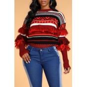 Lovely Trendy Tassel Design Geometric Red Sweater