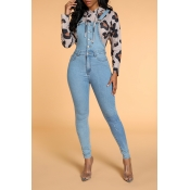Lovely Casual Skinny Baby Blue One-piece Jumpsuit