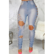 Lovely Casual Hollow-out Blue Plus Size Jeans