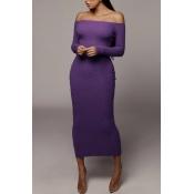 Lovely Trendy Skinny Purple Ankle Length Dress
