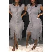 Lovely Trendy Tassel Design Grey Mid Calf Dress