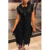 Lovely Trendy Tassel Design Black Mid Calf Dress