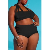 Lovely Hollow-out Black Plus Size Two-piece Swimwe