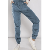 Lovely Casual Drawstring Blue Pants