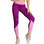 Lovely Casual Patchwork Purple Leggings