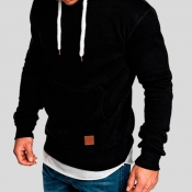 Lovely Casual Basic Black Hoodie