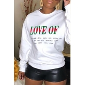 Lovely Casual Letter White Sweatshirt Hoodie