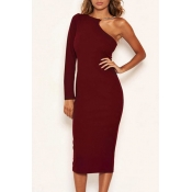 Lovely Stylish One Shoulder Red Mid Calf Dress