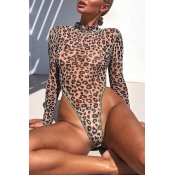 Lovely Leopard High-Leg One-piece Swimsuit