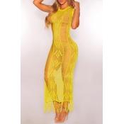 Lovely Tassel Design Hollow-out Yellow Beach Dress