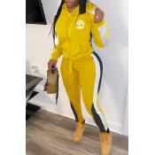Lovely Sportswear Hooded Collar Patchwork Yellow Two-piece Pants Set