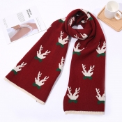 Lovely Casual Antler Wine Red Scarves