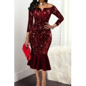 Lovely Party Patchwork Wine Red Knee Length Evenin